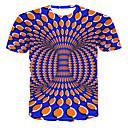 billige T-shirts og undertrøjer til herrer-Rund hals Herre - Farveblok / 3D / Grafisk Trykt mønster T-shirt Blå XXXXL