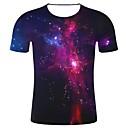 ieftine Bețe Hiking-Bărbați Rotund - Mărime Plus Size Tricou Bumbac Print 3D / Galaxie - Galaxie / #D / Grafic Imprimeu Bleumarin