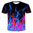 baratos Camisetas & Regatas Masculinas-Homens Camiseta Estampado, 3D Decote Redondo Preto XXXXL / Manga Curta