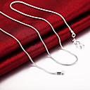 رخيصةأون القلائد-رجالي نسائي قلادات السلسلة كلاسيكي كلاسيكي أساسي موضة نحاس مطلي بالفضة فضي 51,61,66,76 cm قلادة مجوهرات 1PC من أجل مناسب للبس اليومي عمل