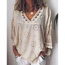 baratos Blusas Femininas-Mulheres Tamanhos Grandes Camisa Social Renda, Sólido Decote V Solto Bege XXXL