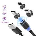 baratos Carregadores Para Carro-Iluminação Cabo 1.0m (3 pés) Entrançado / Magnética / LED Náilon / Nãotecidos / Luminescente Adaptador de cabo USB Para iPad / iPhone