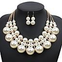 ieftine Colier la Modă-Pentru femei Lănțișor Cercei Multistratificat Minge Stilat Supradimensionat Imitație de Perle cercei Bijuterii Auriu / Alb / Rosu Pentru Zilnic 1set