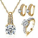 ieftine Brățări-Pentru femei Zirconiu Cubic Seturi de bijuterii de mireasă Geometric Bucurie Stilat Placat Auriu cercei Bijuterii Auriu / Argintiu Pentru Petrecere Zilnic 1set