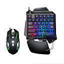 cheap Keyboards-LITBest USB Wired Single Handed Gaming Keyboard Backlit Illuminous Keys with Wrist Breathing Lights Mouse Combos 2 Pieces a Kit