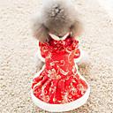 رخيصةأون ملابس وإكسسوارات الكلاب-قط كلب الفساتين ملابس الكلاب أحمر قطن كوستيوم من أجل ربيع & الصيف