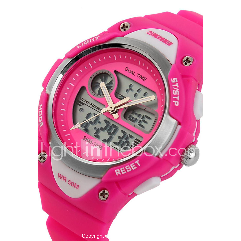 c8de066186d3 SKMEI Reloj de Pulsera Cuarzo Cuarzo Japonés Silicona Negro   Azul   Rosa  Reloj Casual damas