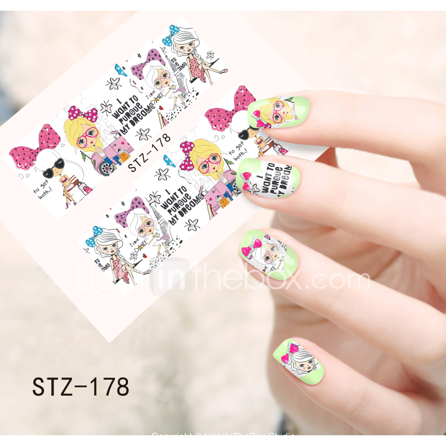 1 pcs nail jewelry water transfer sticker nail art manicure pedicure lovely flower cartoon