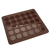 30 agujeros de galletas de macarrones de silicona marrón estera 28.5 cm * 25.8 cm * 0.3 cm