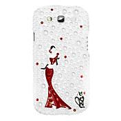 Bailando Caso duro del patrón Girl with Rhinestone para Samsung Galaxy S3 I9300