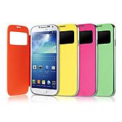 Para Funda Samsung Galaxy con Ventana / Flip Funda Cuerpo Entero Funda Un Color Cuero Sintético Samsung S4