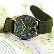 Hombre Cuarzo Reloj de Pulsera Reloj Militar Resistente al Agua Tejido Banda Negro Verde