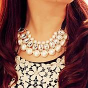 Forma Collar Collar con perlas Collares Declaración Piedras preciosas sintéticas Perla Perla Artificial Brillante Tejido Legierung Collar