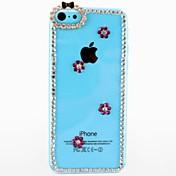 아이폰 5C를위한 자두 꽃 본 투명한 플라스틱 하드 케이스와 다이아몬드