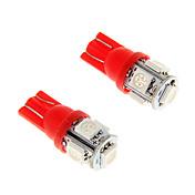 2pcs de hielo roja t10 5-SMD 5050 194 168 1,3w coche indicador LED se enciende focos interiores