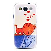 Comer Pattern Cat Fish duro Volver Funda para el Samsung Galaxy S3 I9300