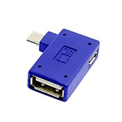 rettvinklet 90 grader mikro USB OTG flash disk adapter med mikro makt for galaksen Note3 s3 / S4 / i9500