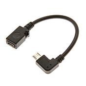 0,1m 0.328ft micro usb 2.0 hann til micro USB 2.0 kvinnelige OTG kabel