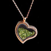 vidrio magnética corazón de la aleación verde rhinestone colgante medallón de estar flotando