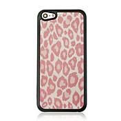 caso duro del patrón de la vena de cuero estampado de leopardo para 5c iphone