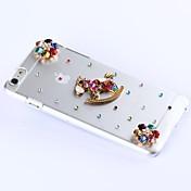 bricolaje pétalos de seis colores con patrón de diamantes de imitación de plástico duro para el iPhone 6 más