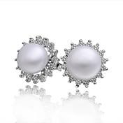 Mujer Perla Zirconio Pendientes cortos - Moda Aretes Para Boda Fiesta Diario Casual
