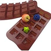 15 hulls firkantet form kake is gelé sjokolade muggsopp, silikon 21 × 10,5 × 2,5 cm (8.3 × 4.1 × 1.0inch)