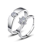 반지 커플 다이아몬드 실버 실버 실버 장식의 색상은 그림과 같습니다.