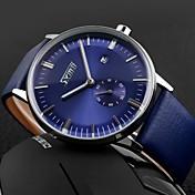 SKMEI Hombre Cuarzo Cuarzo Japonés Reloj de Pulsera Calendario Resistente al Agua Piel Banda Encanto Negro Azul Marrón