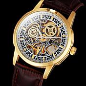 Hombre Reloj de Pulsera El reloj mecánico Cuerda Automática Huecograbado Piel Banda De Lujo Marrón Marrón