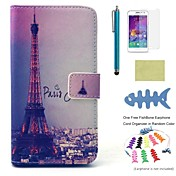 Para Soporte de Coche / Cartera / con Soporte / Flip / Diseños Funda Cuerpo Entero Funda Torre Eiffel Dura Cuero Sintético Samsung A3
