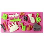cuatro c instrumentos musicales taza de silicona molde de pastel de pasta de azúcar del molde de color rosa