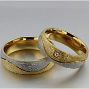 Mujer Alianzas Anillos de Diseño Amor Titanio Acero Diamante Sintético Forma de Círculo Joyas Joyas Boda Fiesta Diario Casual Deportes