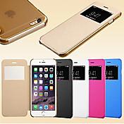 Etui Til Apple iPhone 6 Plus / iPhone 6 med vindu / Flipp Heldekkende etui Ensfarget Hard PU Leather til iPhone 6s Plus / iPhone 6s / iPhone 6 Plus
