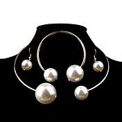 Dame Perle Smykkesett - Perle, Imitert Perle Ball Mote, Elegant, Brude Inkludere Sølv / Gylden Til Bryllup / Fest / Bursdag / Øreringer / Halskjeder / Oversized