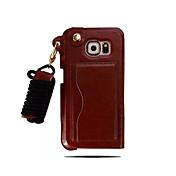 Para Funda Samsung Galaxy Soporte de Coche Funda Cubierta Trasera Funda Un Color Cuero Sintético Samsung S6