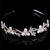 Mujer Perla Plata esterlina Diamantes Sintéticos Celada-Boda Bandas de cabeza