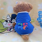 강아지 티셔츠 강아지 의류 기하 블루 코스츔 애완 동물