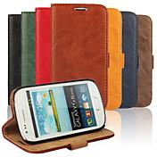 Etui Til Samsung Galaxy Samsung Galaxy Etui Lommebok / Kortholder / med stativ Heldekkende etui Ensfarget PU Leather til S3 Mini