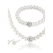 Mujer Perla Conjunto de joyas 1 Collar / 1 Par de Pendientes / 1 Brazalete - Euramerican / Moda Redondo Blanco Juego de Joyas / Collar