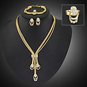 Mujer Juego de Joyas Moda Joyería Destacada Longitud Larga joyería de disfraz Chapado en Oro Diamante Sintético Joyas Pendientes Collar