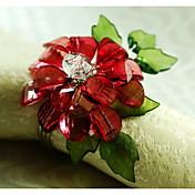 12 stk / sett 1,77 tommer akryl blomst serviett ring servise bord lagring