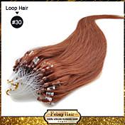 Extensión con Micro anillo Extensiones de cabello humano Cabello natural Corte Recto 100 Strands / Paquete 16 pulgadas 18 pulgadas 20