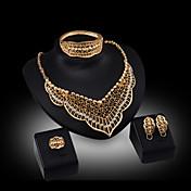 Collar / Pendiente / Brazalete / Anillo (Baño en Oro / Aleación / Zirconia Cúbica)- Bonito / Fiesta para Mujer