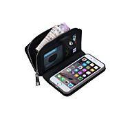 특별히 디자인 된 다기능 카드 지갑 진짜 가죽 니트 라인이 아이폰 6 플러스 / 아이폰 6S를 위해 권총 플러스