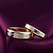 Par Band Ring - Titanium Stål Mote 6 / 7 / 8 M / W Til Daglig / Avslappet