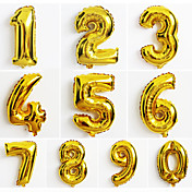 10pcs gran número de oro 0-9 globos año nuevo decoración de la boda la fiesta de Navidad con balón