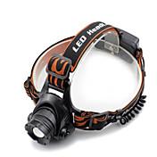 Black headlamp 헤드램프 헤드라이트 LED 2000 lm 4.0 모드 Cree XM-L T6 충전기 포함 줌이 가능한 방수 앵글헤드 슈퍼 라이트 캠핑/등산/동굴탐험 일상용 다이빙/보트 사이클링 사냥 낚시 여행 드라이빙 수중 스포츠 일