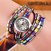 Mujer Reloj de Moda Reloj Pulsera Cuarzo Colorido Piel Banda Destello Bohemio Negro Blanco Rojo