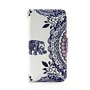 el elefante y el círculo de la flor de la PU billetera de cuero caso de cuerpo completo para el tacto 5.6